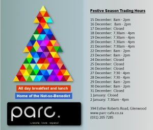 parc xmas trading hours